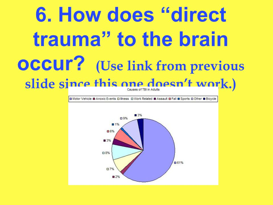 6. How does direct trauma to the brain occur.