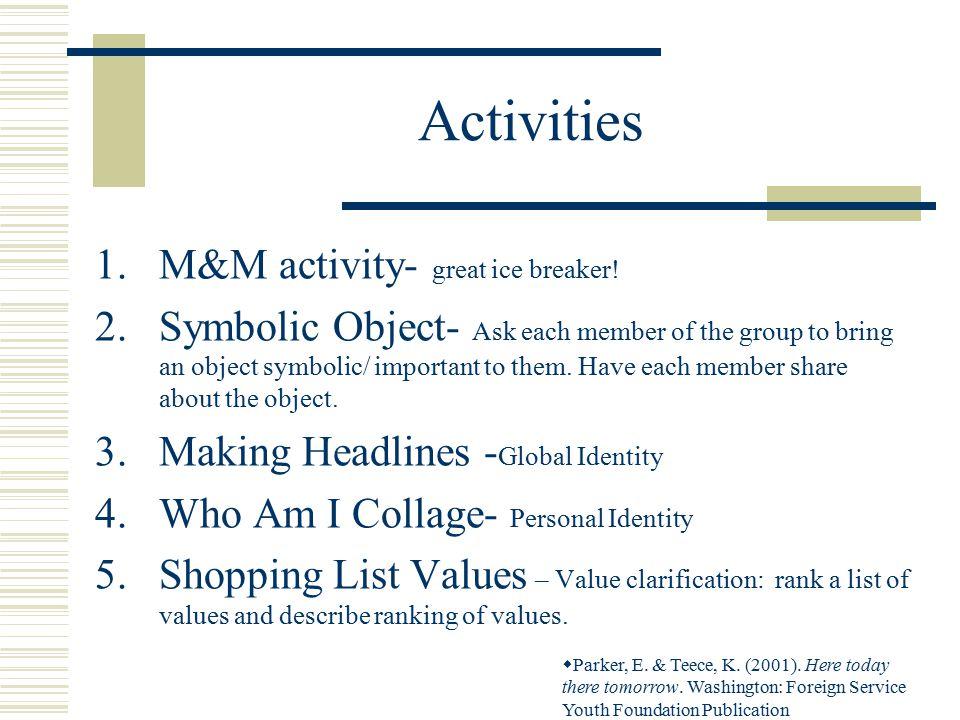 Activities 1.M&M activity- great ice breaker.