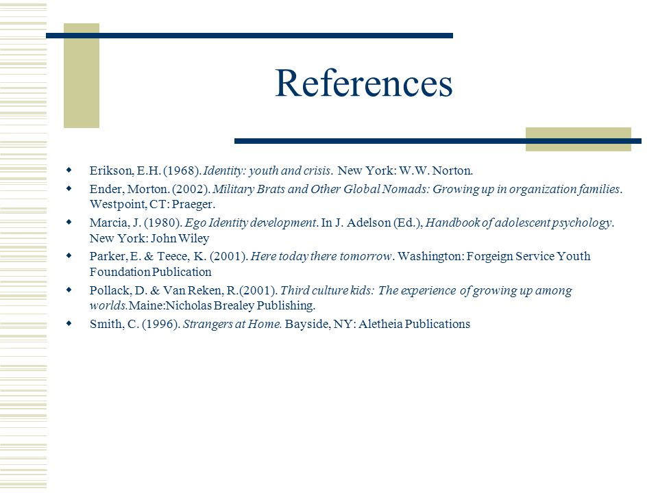 References  Erikson, E.H. (1968). Identity: youth and crisis.