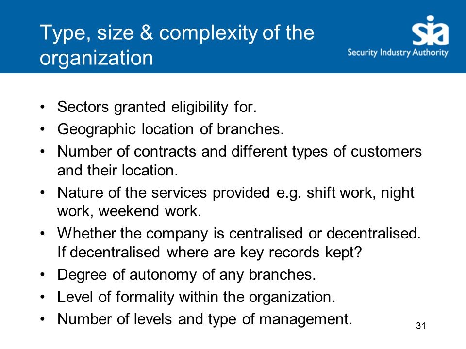 Type, size & complexity of the organization Sectors granted eligibility for.
