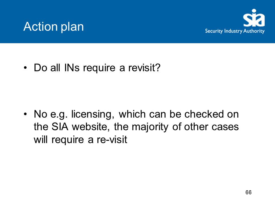 66 Action plan Do all INs require a revisit.No e.g.
