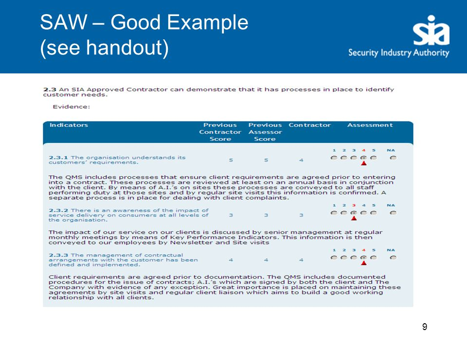 SAW – Good Example (see handout) 9