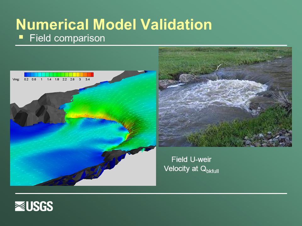 Numerical Model Validation Field U-weir Velocity at Q bkfull  Field comparison