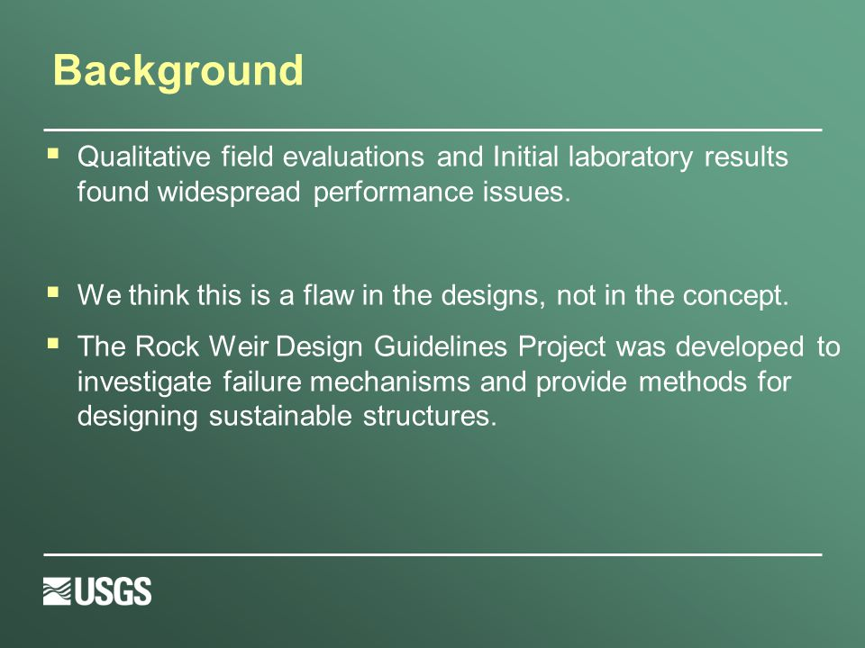 Background  Qualitative field evaluations and Initial laboratory results found widespread performance issues.