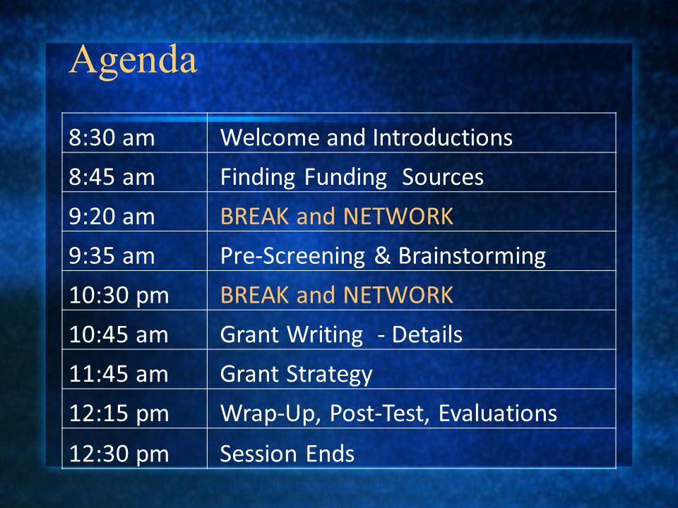 Agenda 8:30 am Welcome and Introductions 8:45 am Finding Funding Sources 9:20 am BREAK and NETWORK 9:35 am Pre-Screening & Brainstorming 10:30 pm BREAK and NETWORK 10:45 am Grant Writing - Details 11:45 am Grant Strategy 12:15 pm Wrap-Up, Post-Test, Evaluations 12:30 pm Session Ends