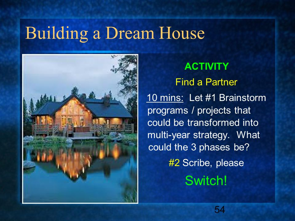 Building a Dream House ACTIVITY Find a Partner 10 mins: Let #1 Brainstorm programs / projects that could be transformed into multi-year strategy. What