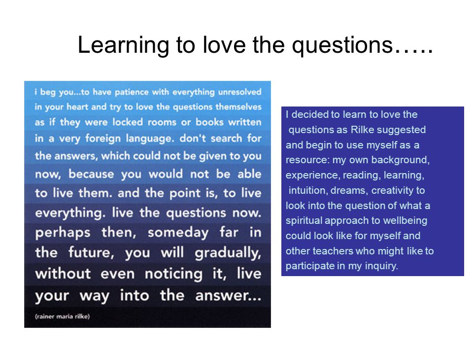 Learning to love the questions …..