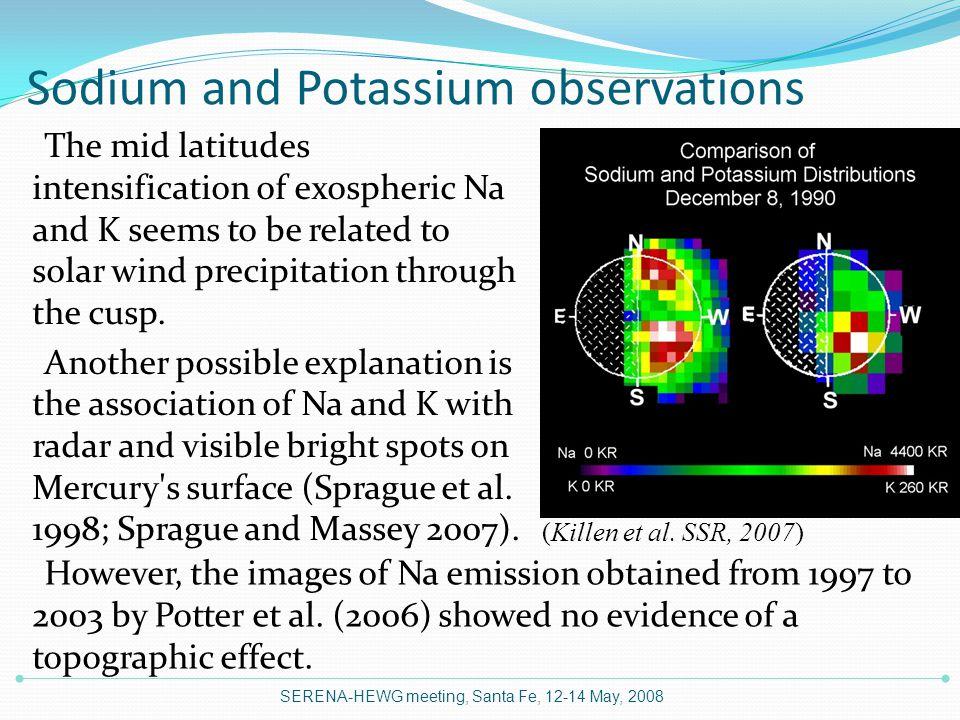 Sodium and Potassium observations SERENA-HEWG meeting, Santa Fe, 12-14 May, 2008 (Killen et al.