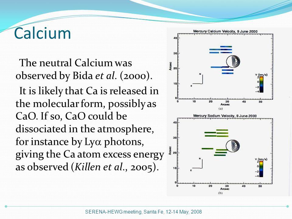 Calcium The neutral Calcium was observed by Bida et al.
