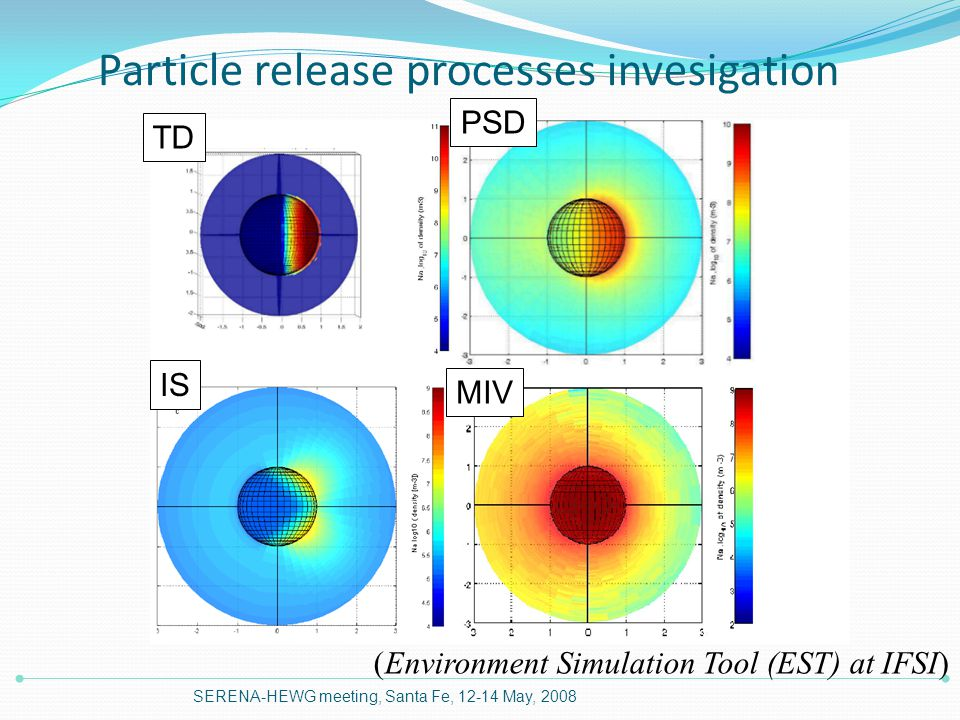 Particle release processes invesigation SERENA-HEWG meeting, Santa Fe, 12-14 May, 2008 TD PSD IS MIV (Environment Simulation Tool (EST) at IFSI)