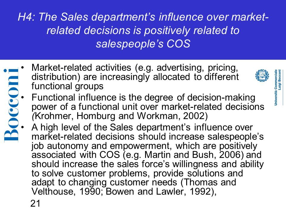 21 H4: The Sales department's influence over market- related decisions is positively related to salespeople's COS Market-related activities (e.g.