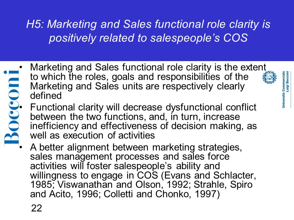 22 H5: Marketing and Sales functional role clarity is positively related to salespeople's COS Marketing and Sales functional role clarity is the extent to which the roles, goals and responsibilities of the Marketing and Sales units are respectively clearly defined Functional clarity will decrease dysfunctional conflict between the two functions, and, in turn, increase inefficiency and effectiveness of decision making, as well as execution of activities A better alignment between marketing strategies, sales management processes and sales force activities will foster salespeople's ability and willingness to engage in COS (Evans and Schlacter, 1985; Viswanathan and Olson, 1992; Strahle, Spiro and Acito, 1996; Colletti and Chonko, 1997)