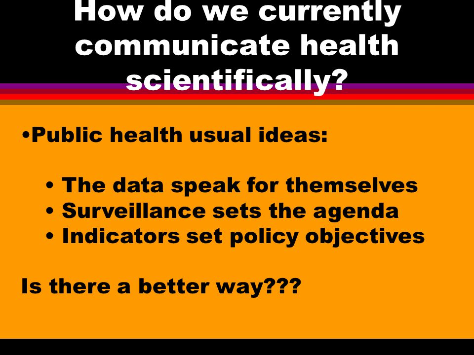 How do we currently communicate health scientifically.