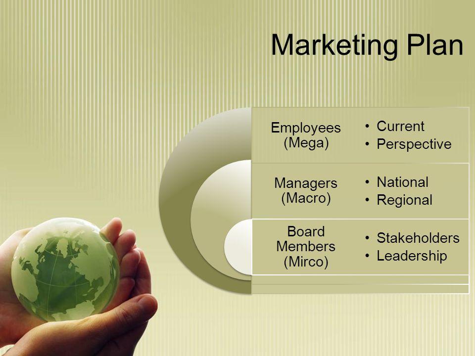 Marketing Plan Employees (Mega) Managers (Macro) Board Members (Mirco) Current Perspective National Regional Stakeholders Leadership