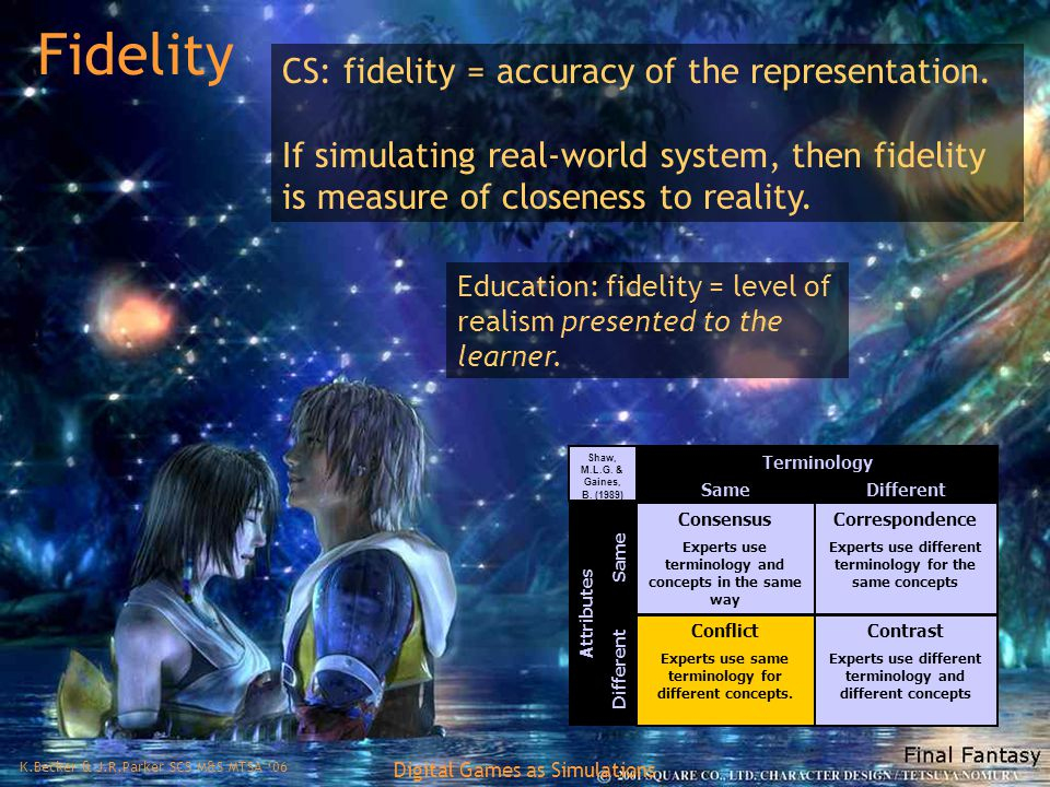 K.Becker & J.R.Parker SCS M&S MTSA '06 Digital Games as Simulations Fidelity CS: fidelity = accuracy of the representation.