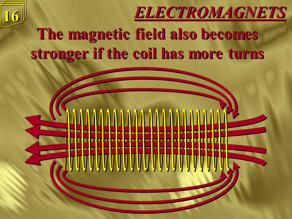 ELECTROMAGNETS 15 The magnetic field is stronger if we increase the current through the coil The magnetic field is stronger if we increase the current through the coil