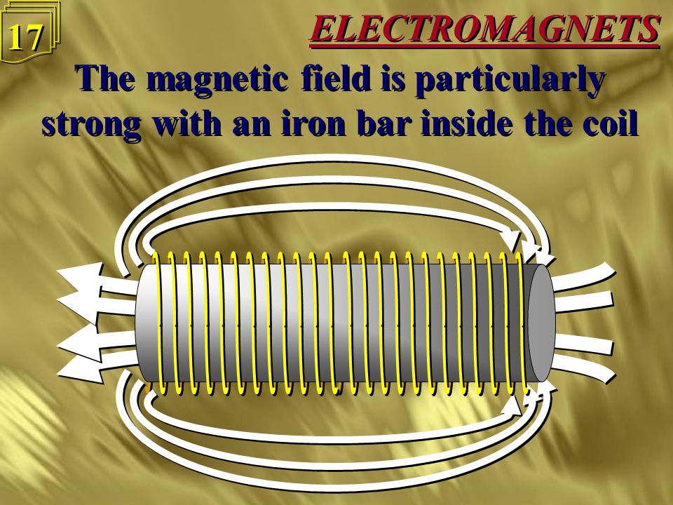 ELECTROMAGNETS 16 The magnetic field also becomes stronger if the coil has more turns The magnetic field also becomes stronger if the coil has more turns