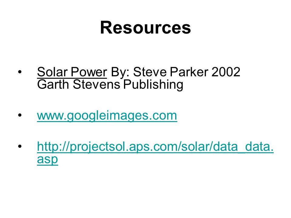 Resources Solar Power By: Steve Parker 2002 Garth Stevens Publishing www.googleimages.com http://projectsol.aps.com/solar/data_data. asphttp://project
