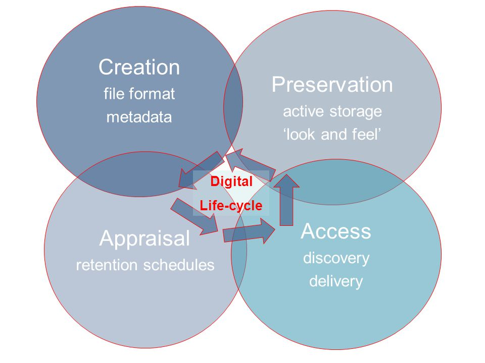 Creation file format metadata Appraisal retention schedules Preservation active storage 'look and feel' Access discovery delivery Digital Life-cycle