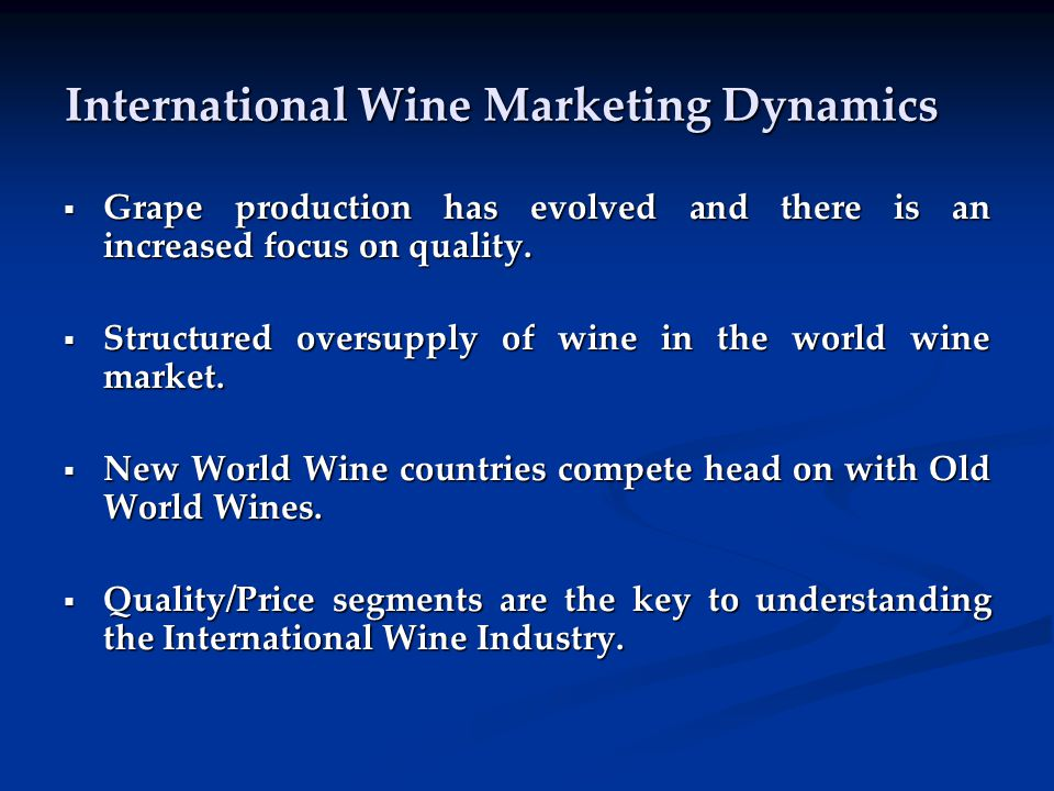 2) Trend to Red Wine World2004-20092004-2009 millions x 9 litre cases Still Light Wine 13.2%297.2 Still Red Wine 14.4%173.3 Still White Wine 12.4%108.4 Still Rosé Wine 8.5%15.5 Sparkling Wine 14.3%30.5 Fortified Wine 7.5%9.1 Source: Euromonitor