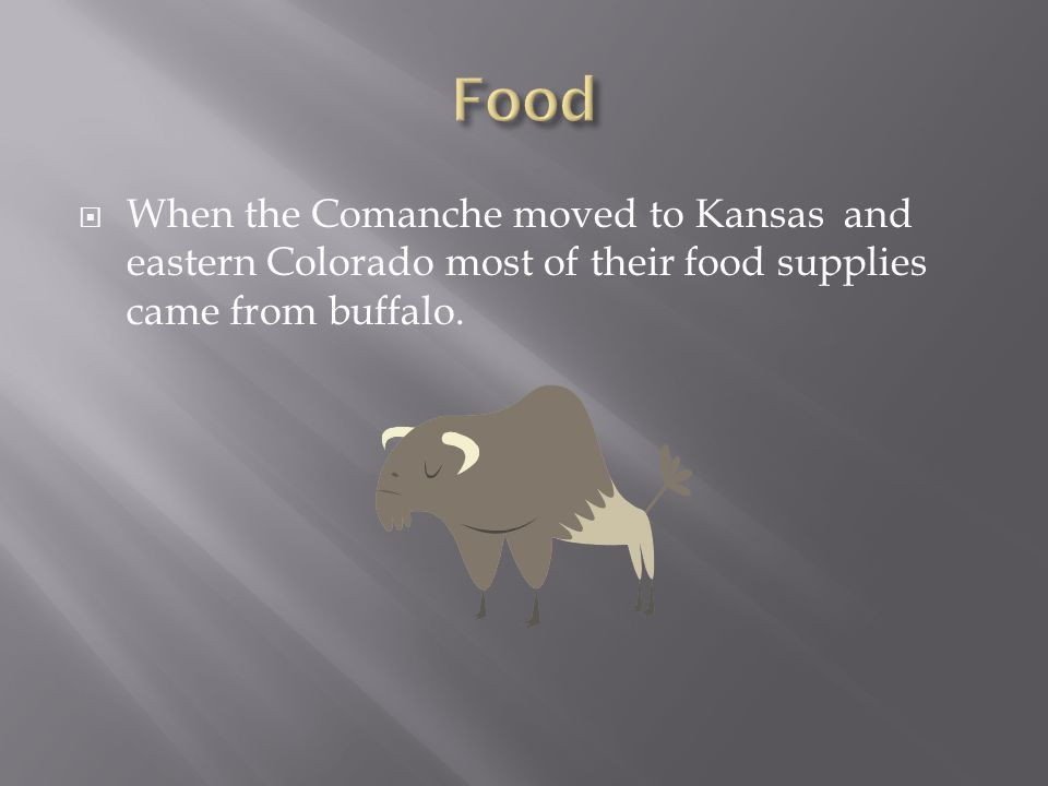  When the Comanche moved to Kansas and eastern Colorado most of their food supplies came from buffalo.
