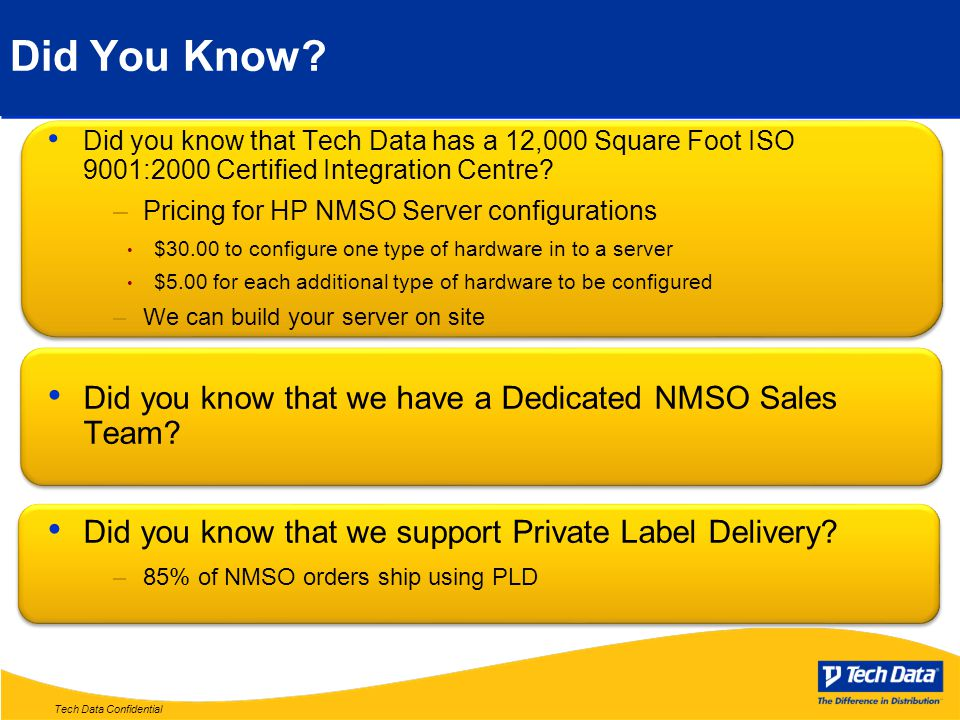 Tech Data Confidential Did You Know.