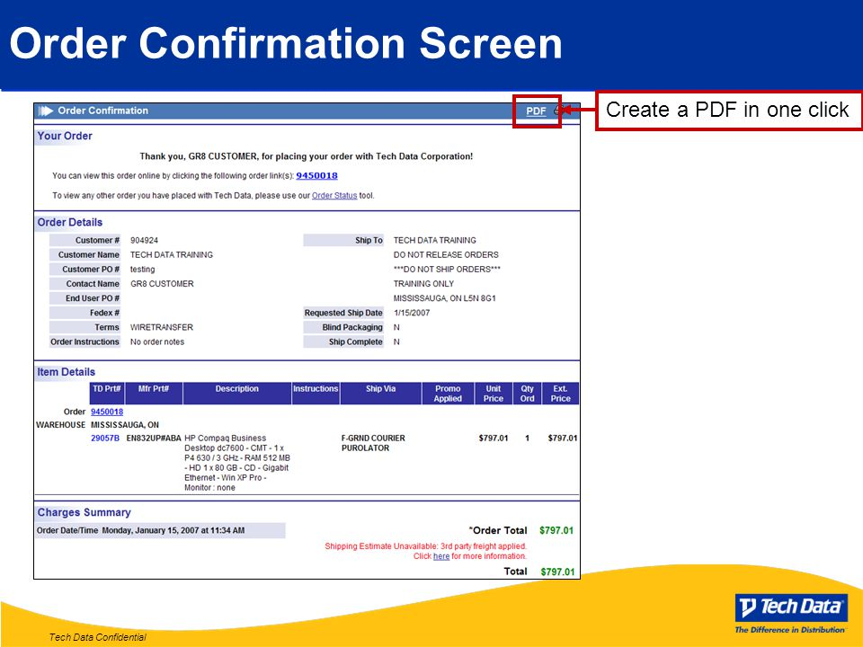Tech Data Confidential Order Confirmation Screen Create a PDF in one click