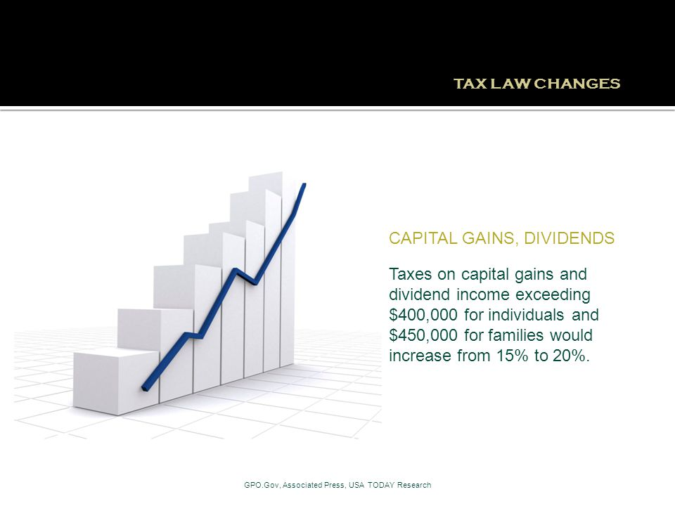 TAX LAW CHANGES Taxes on capital gains and dividend income exceeding $400,000 for individuals and $450,000 for families would increase from 15% to 20%