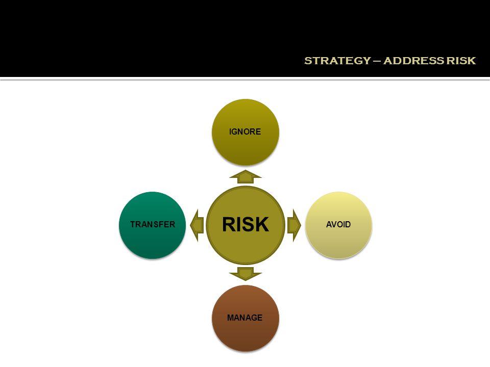 RISK IGNOREAVOIDMANAGETRANSFER STRATEGY – ADDRESS RISK