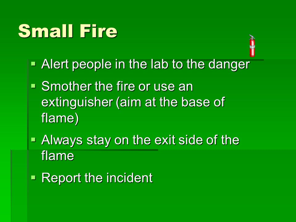 Small Fire  Alert people in the lab to the danger  Smother the fire or use an extinguisher (aim at the base of flame)  Always stay on the exit side