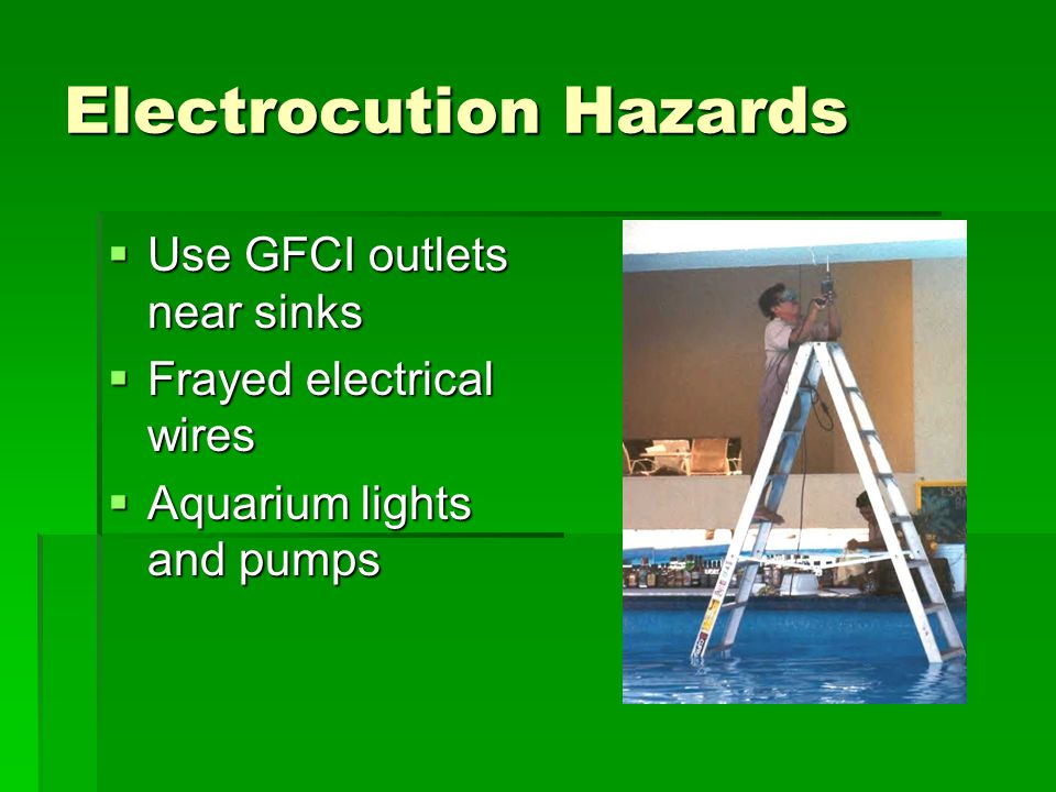 Electrocution Hazards  Use GFCI outlets near sinks  Frayed electrical wires  Aquarium lights and pumps