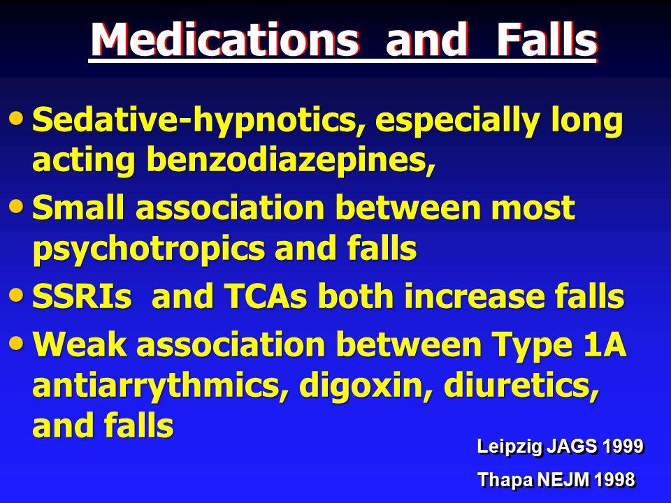 Medications and Falls Sedative-hypnotics, especially long acting benzodiazepines, Sedative-hypnotics, especially long acting benzodiazepines, Small association between most psychotropics and falls Small association between most psychotropics and falls SSRIs and TCAs both increase falls SSRIs and TCAs both increase falls Weak association between Type 1A antiarrythmics, digoxin, diuretics, and falls Weak association between Type 1A antiarrythmics, digoxin, diuretics, and falls Leipzig JAGS 1999 Thapa NEJM 1998 Leipzig JAGS 1999 Thapa NEJM 1998