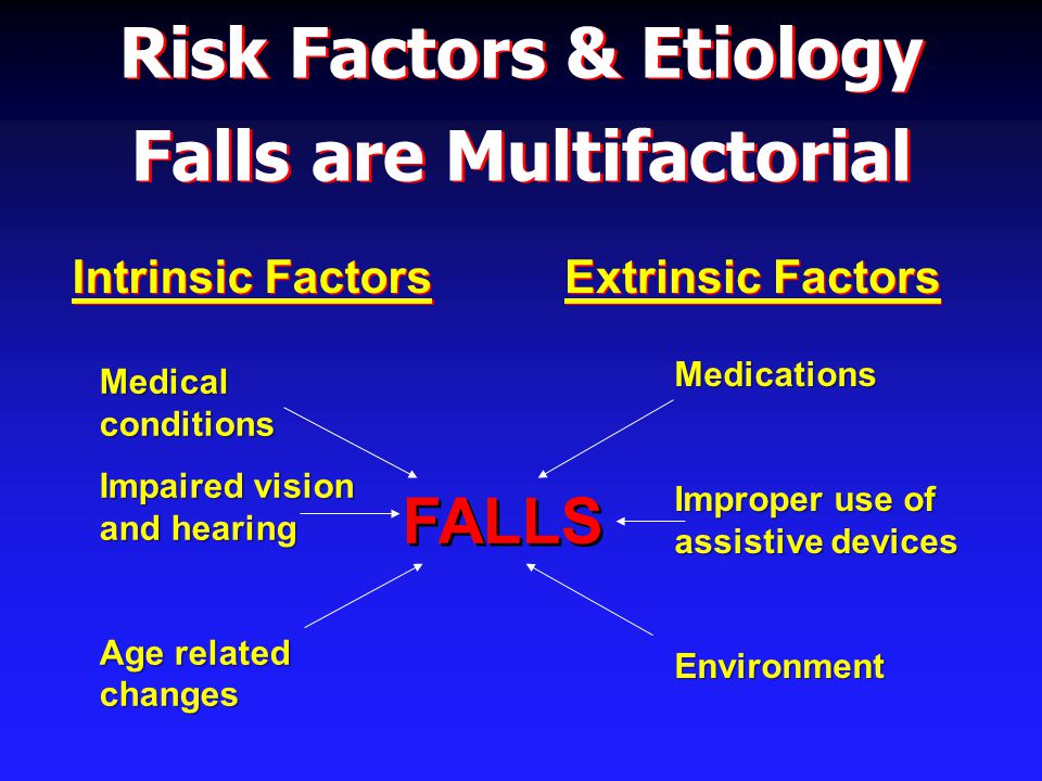 Evaluation of Falls in the Elderly Physical Examination Supine and standing BP - always Supine and standing BP - always Routine physical examination Routine physical examination Focus on cardiovascular, MS, neuro, feet Vision and hearing evaluation Vision and hearing evaluation Consider acute medical illness & delirium Consider acute medical illness & delirium Formal gait and balance assessment Formal gait and balance assessment