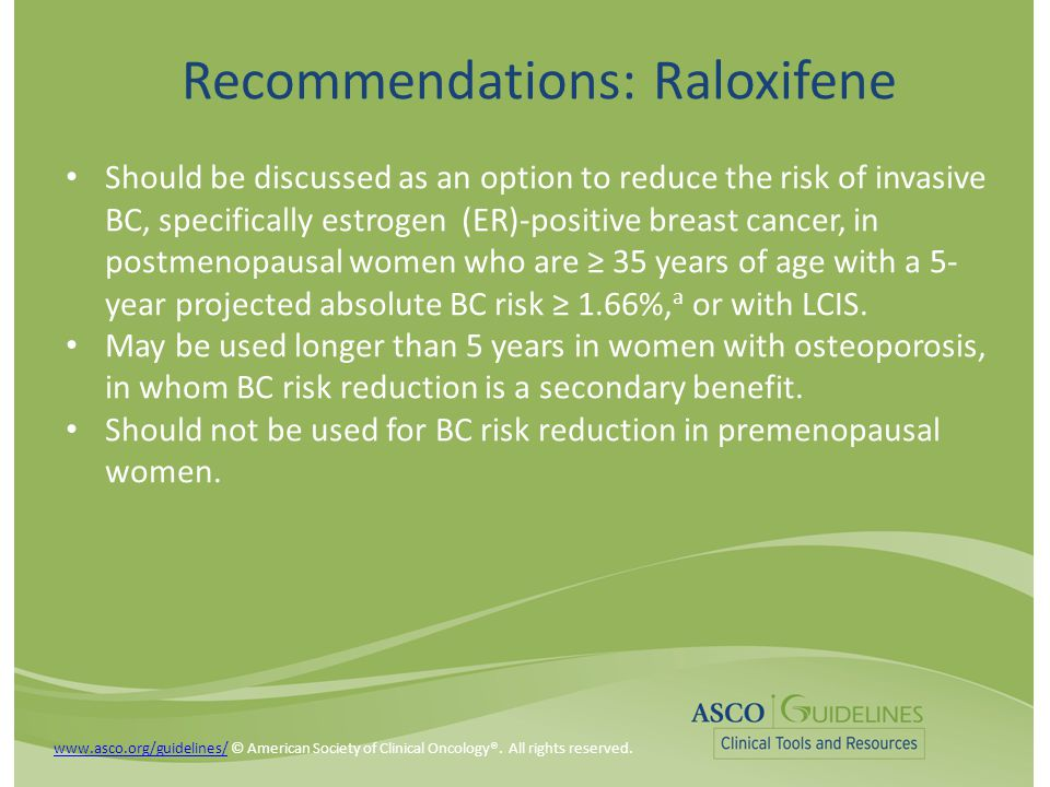Recommendations: Raloxifene Should be discussed as an option to reduce the risk of invasive BC, specifically estrogen (ER)-positive breast cancer, in