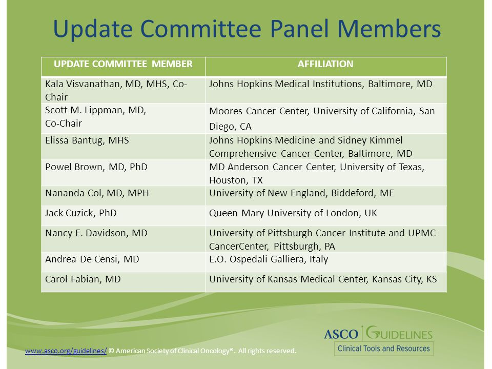 Update Committee Panel Members UPDATE COMMITTEE MEMBERAFFILIATION Kala Visvanathan, MD, MHS, Co- Chair Johns Hopkins Medical Institutions, Baltimore, MD Scott M.
