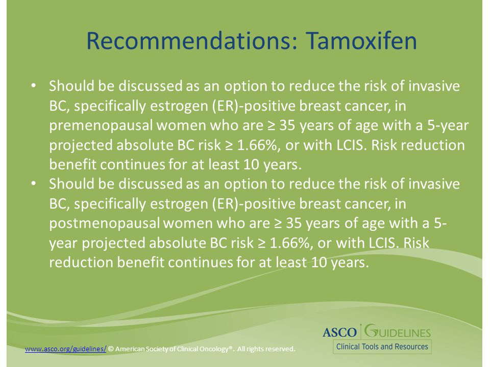 Recommendations: Tamoxifen Should be discussed as an option to reduce the risk of invasive BC, specifically estrogen (ER)-positive breast cancer, in premenopausal women who are ≥ 35 years of age with a 5-year projected absolute BC risk ≥ 1.66%, or with LCIS.