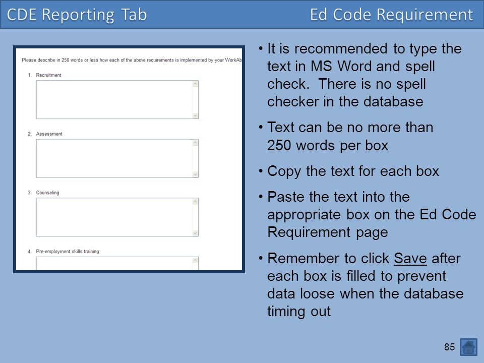 85 It is recommended to type the text in MS Word and spell check.