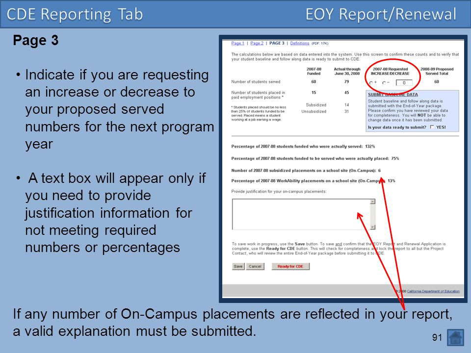 91 Page 3 Indicate if you are requesting an increase or decrease to your proposed served numbers for the next program year A text box will appear only