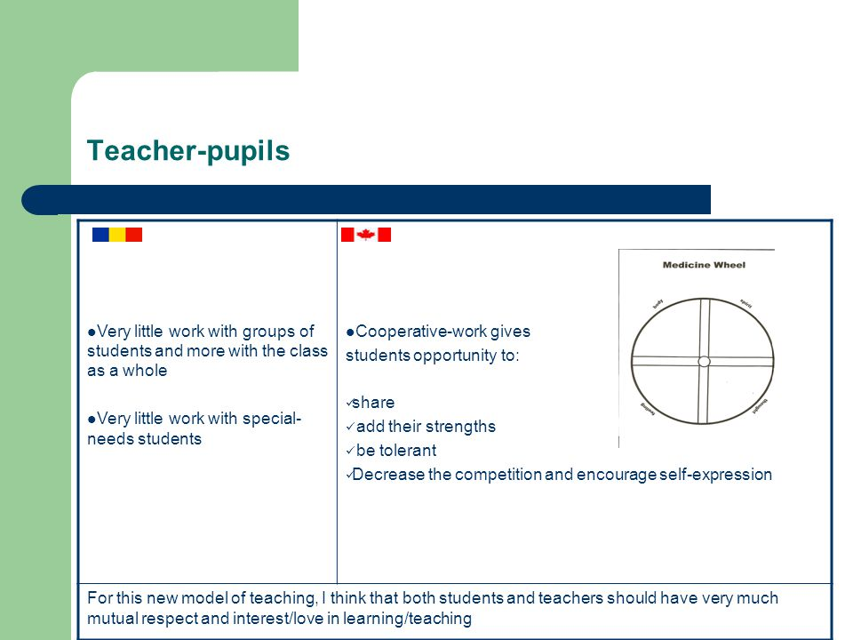 Teacher-pupils Very little work with groups of students and more with the class as a whole Very little work with special- needs students Cooperative-work gives students opportunity to: share add their strengths be tolerant Decrease the competition and encourage self-expression For this new model of teaching, I think that both students and teachers should have very much mutual respect and interest/love in learning/teaching