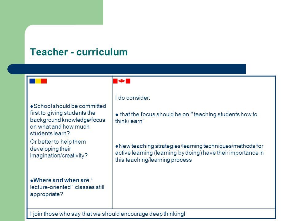 Teacher - curriculum School should be committed first to giving students the background knowledge/focus on what and how much students learn.