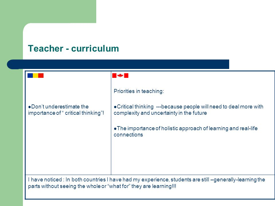 Teacher - curriculum Don't underestimate the importance of critical thinking .