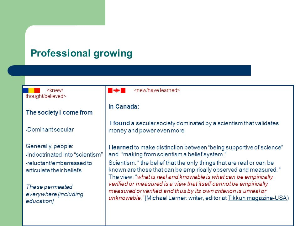 Professional growing The society I come from Dominant secular Generally, people: Indoctrinated into scientism reluctant/embarrassed to articulate their beliefs These permeated everywhere [including education] In Canada: I found a secular society dominated by a scientism that validates money and power even more I learned to make distinction between being supportive of science and making from scientism a belief system. Scientism: the belief that the only things that are real or can be known are those that can be empirically observed and measured.