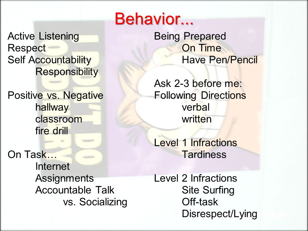 Behavior... Active Listening Respect Self Accountability Responsibility Positive vs. Negative hallway classroom fire drill On Task… Internet Assignmen