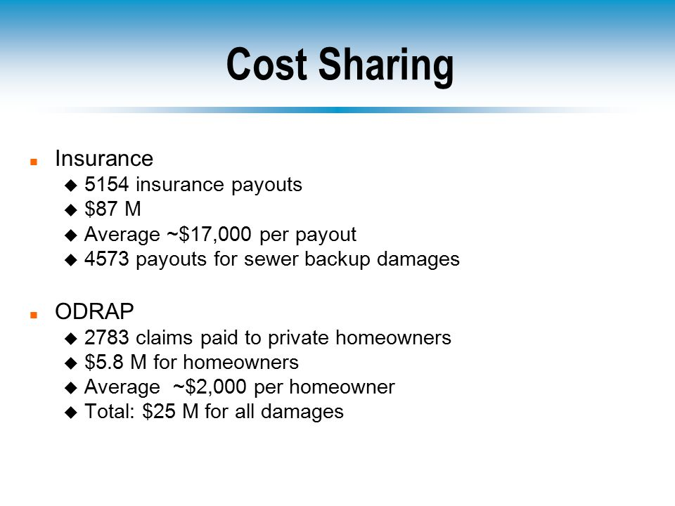 Cost Sharing n Insurance u 5154 insurance payouts u $87 M u Average ~$17,000 per payout u 4573 payouts for sewer backup damages n ODRAP u 2783 claims paid to private homeowners u $5.8 M for homeowners u Average ~$2,000 per homeowner u Total: $25 M for all damages