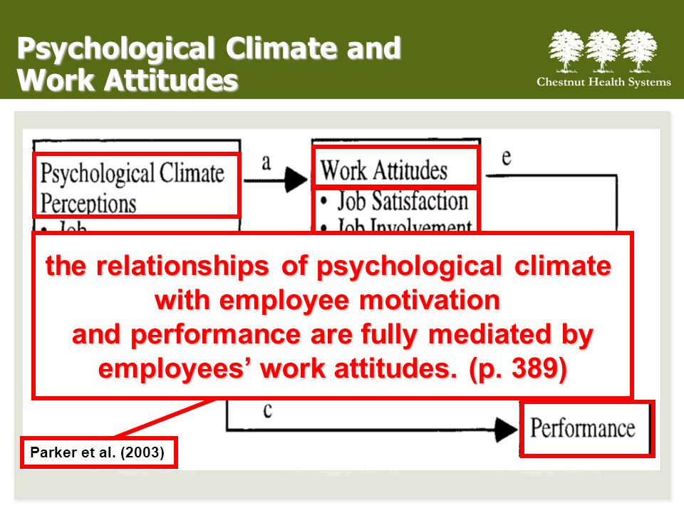 Psychological Climate and Work Attitudes Parker et al.