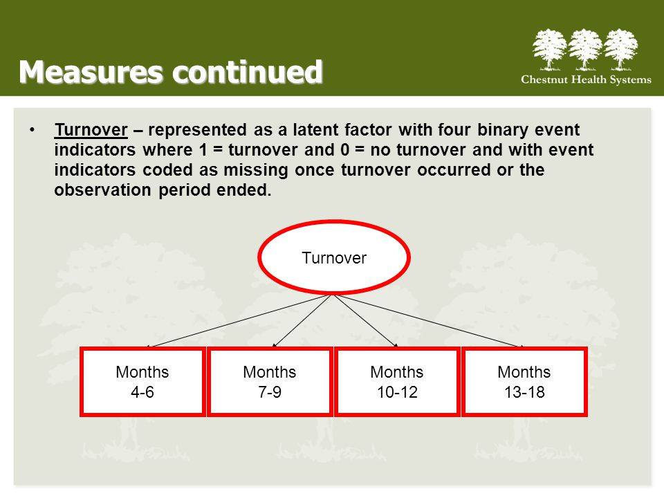 Measures continued Turnover – represented as a latent factor with four binary event indicators where 1 = turnover and 0 = no turnover and with event indicators coded as missing once turnover occurred or the observation period ended.