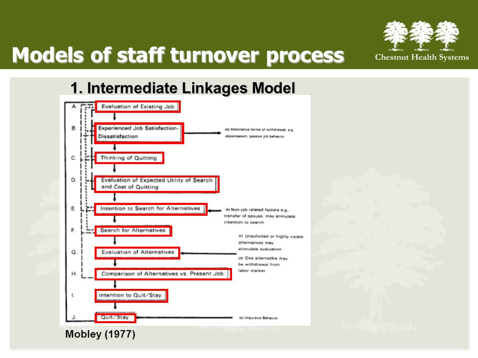 Models of staff turnover process 1. Intermediate Linkages Model Mobley (1977)