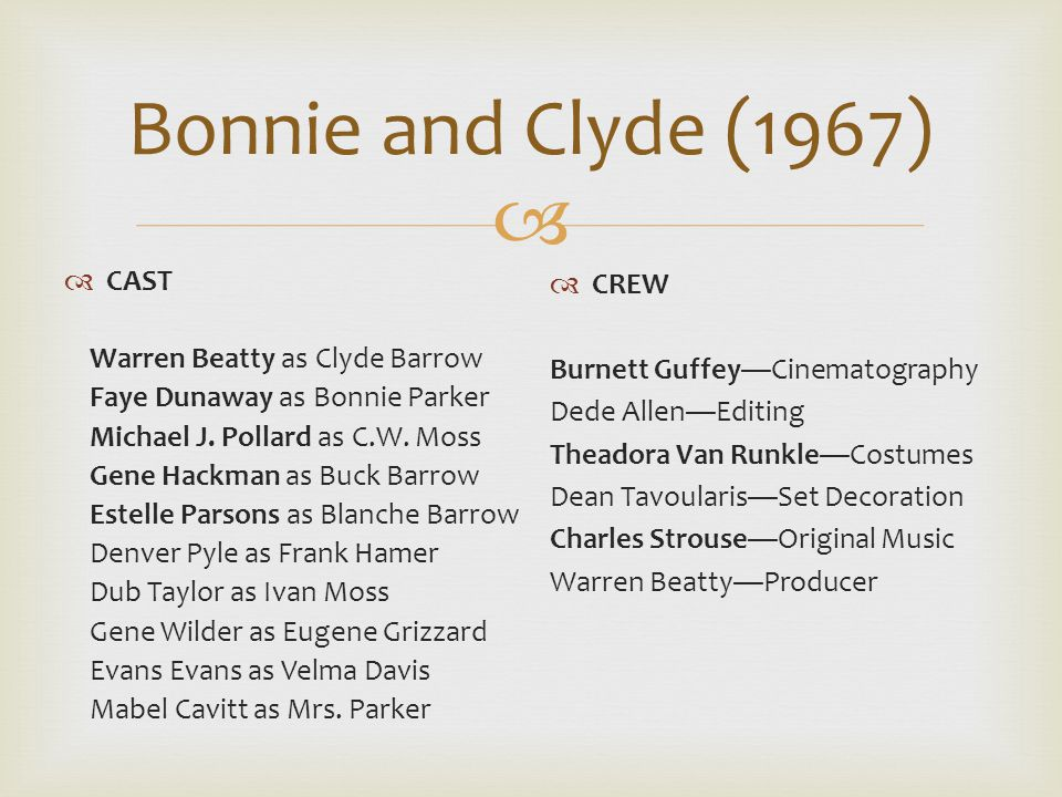  Bonnie and Clyde (1967)  CAST Warren Beatty as Clyde Barrow Faye Dunaway as Bonnie Parker Michael J.