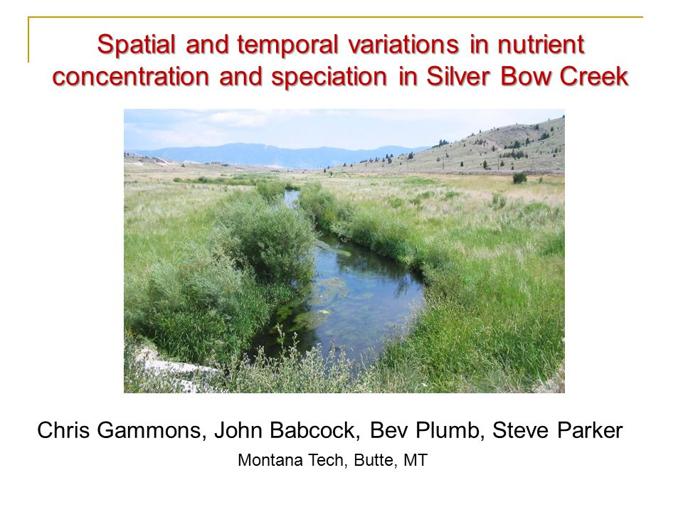 Chris Gammons, John Babcock, Bev Plumb, Steve Parker Montana Tech, Butte, MT Spatial and temporal variations in nutrient concentration and speciation in Silver Bow Creek