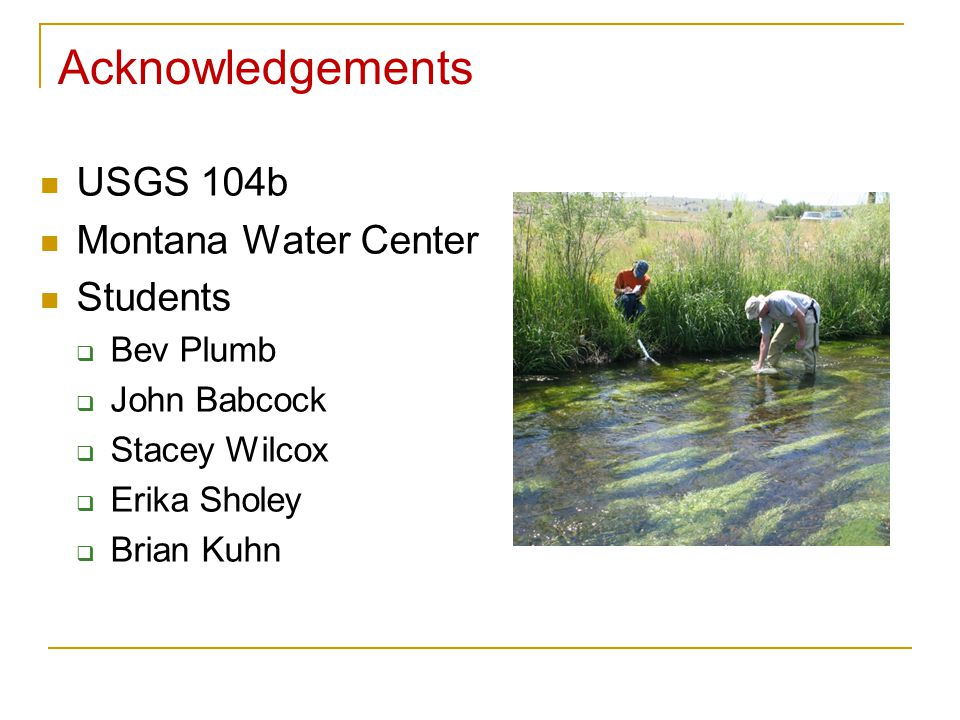 USGS 104b Montana Water Center Students  Bev Plumb  John Babcock  Stacey Wilcox  Erika Sholey  Brian Kuhn Acknowledgements